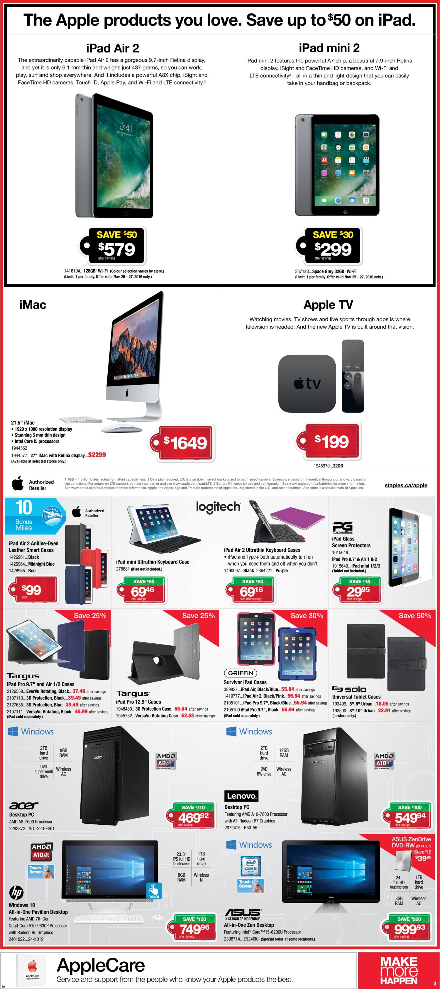 Staples Weekly Flyer - Make More Happen - Black Friday Sale