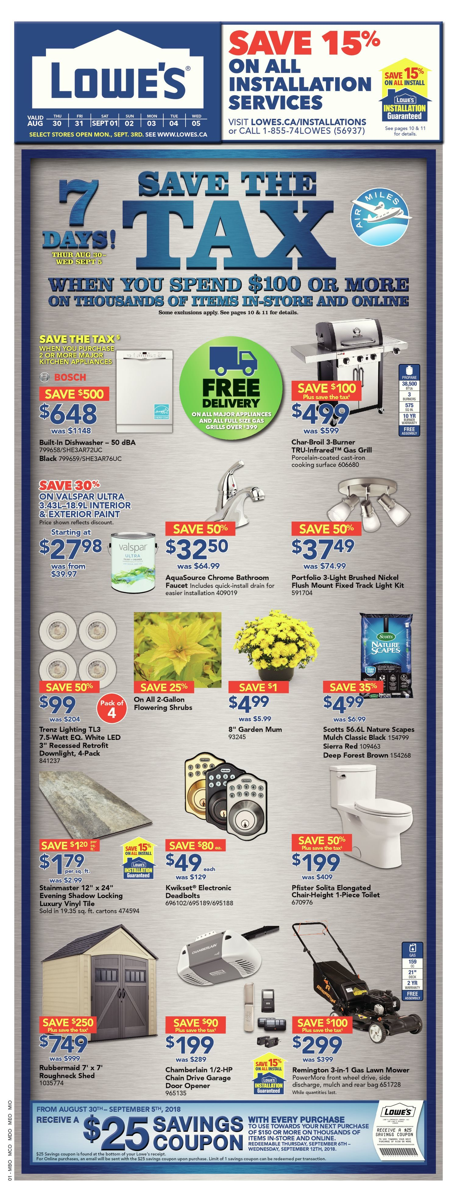 Lowes Weekly Flyer Save The Tax Aug 30 Sep 5 Adorne 4 Way Switch