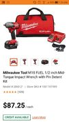 Home Depot *super hot* price error likely. Milwaukee FUEL 1/2 inch Mid-Torque Impact Wrench with Pin Detent kit 2860-21 $87.25