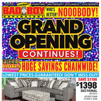 Bad Boy Furniture - Grand Opening Continues! Flyer