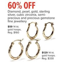 Diamond, Pearl, Gold, Sterling Silver, Cubic Zirconia, Semi-Precious And Precious Gemstone Fine Jewellery Gold Hoops