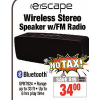 Escape Wireless Stereo Speaker W/FM radio
