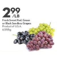 Fresh Sweet Red, Green Or Black Seedless Grapes
