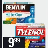 Benylin Cough Syrup or Caplet, Tylenol Cold Eztabs, Complete Cold Caplets or Syrups