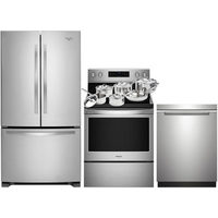 "Whirlpool 33"" Refrigerator; Electric Range; Dishwasher;11-Piece Cookware Package"