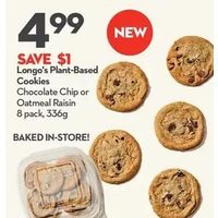 Longo's Plant-Based Cookies Chocolate Chip or Oatmeal Raisin