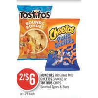 Munchies Original Mix, Cheetos Snacks Or Tostitos Chips