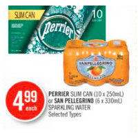 Perrier Slim Can Or San Pellegrino Sparkling Water