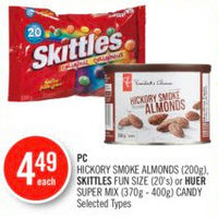 PC Hickory Smoke Almonds, Skittles Fun Size Or Huer Super Mix Candy