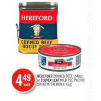 Herford Corned Beef Or Clover Leaf Wild Red Pacific Sockeye Salmon