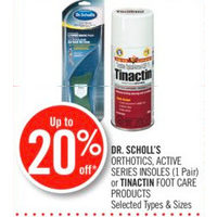 Dr. Scholl's Orthotics, Active Series Insoles Or Tinactin Foot Care Products