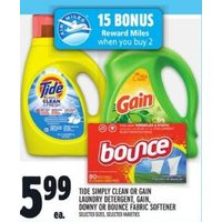 Tide Simply Clean Or Gain Laundry Detergent, Gain, Downy Or Bounce Fabric Softener