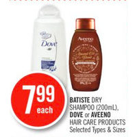 Batiste Dry Shampoo, Dove or Aveeno Hair Care Products