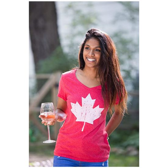 3. Best Apparel Gift for Women: Canada Pride | Vintage Style, Retro Canadian Maple Leaf Women's V-Neck T-Shirt