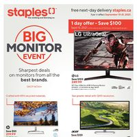 Staples - Weekly Deals - Big Monitor Event Flyer