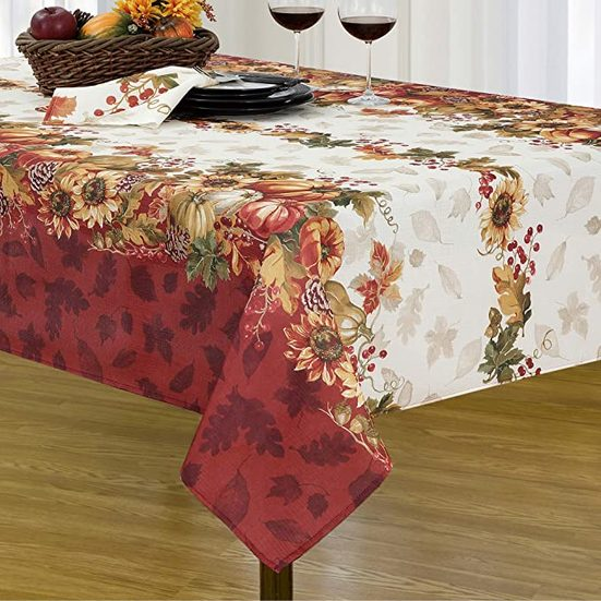 7. Best Tablecloth for Thanksgiving: Elrene Home Fashions Swaying Leaves Bordered Fall Tablecloth