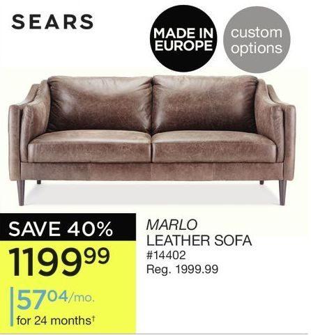 Sears Marlo Leather Sofa
