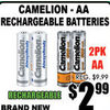 Camelion-AA Rechargeable Batteries - $2.99