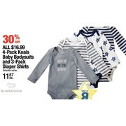 All $16.99 4 Pack Koala Baby Bodysuits and 3 Pack Diaper Shirts - $11.87 (30% off)